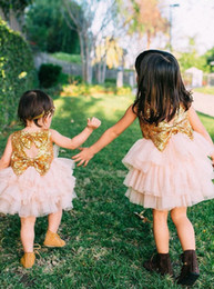 Wholesale Open Back Pearl Wedding Dress - Ball Gown Jewel Open Back Pearl Pink Tulle Flower Girl Dress with Sequins Bows Communion Dress Pageant Gowns for Little Girls