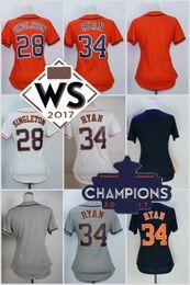 Wholesale Base Blank - 2017 Strong WS Champions Patch Women Stitched Houston Blank 28 Singleton 34 Nolan Ryan White Orange Blue Grey Cool Base Baseball