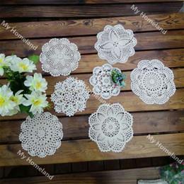 Wholesale Crochet Design Mats - Wholesale- New Design 7Pcs 100% Cotton Hand Made Crochet Doilies For DIY Cup Mat Pad 7 Vintage Crochet Motifs 15-22cm White Beige HD157