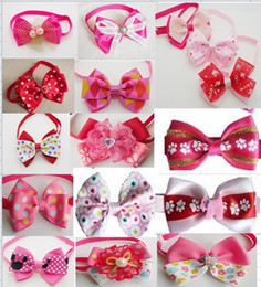 Wholesale Girls Bow Tie Fashion - 50pcs Lot Big sale 2016 Fashion Girl Pet Dog puppy Cat Cute Bow Ties Neckties Bowknot Dog Grooming Products Mixed style BN102