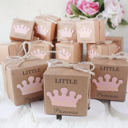 Wholesale Craft Wedding Favors - 10Pcs Kraft Paper Gift Box Candy Boxes Baby Shower Decorations Wedding Favors and Gifts Box for Guests 2*2*2inch Party Supplies