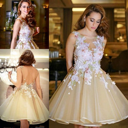 Wholesale Deep V Sweetheart Neckline Dress - 2017 Short Colorful Champagne Cocktail Dresses Sheer Neckline Lace Appliques 3D Floral Open Back Organza Homecoming Dress Prom Gown Custom
