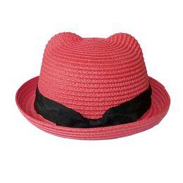 Wholesale Kids Fedora Ears - 2016 New Kids Straw hats Fedora Hat Children Beach Sun Baby Ear Vintage Baby Boy And Girl Wide Brim Floppy Panama cap