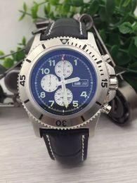 Wholesale Superocean Strap - AAA luxury brand fashion watches men superocean heritage 46 watch black leather strap watch quartz chronograph sport watch mens wristwatches