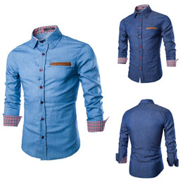 Wholesale Cotton Denim Shirts Men - Men Denim Jeans Shirts Male Casual Fashion Slim Fit Fitness Long Sleeved Plus Size Mens Shirts Autumn Winter Newest M-3XL RF0071