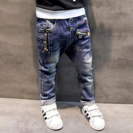 Wholesale Winter Trousers For Boys - Boys Pants Jeans 2017 Fashion Boys Jeans for Spring Fall Children's Denim Trousers Kids Dark Blue Designed Pants