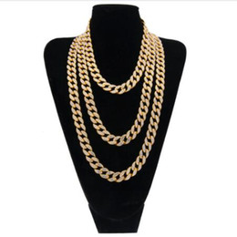 Wholesale Mens Jewelry Pendants Necklaces - Hip Hop Gold Silver 15mm Choker Cuban Chain Mens 18inch 20inch 24inch 30inch Miami Cuban Link Chain BlingBling Jewelry