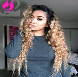 Wholesale Water Wave Lights - Two Tone Ombre 1b 27 Virgin Hair Brazilian Lace Front Wig For Black Women Human Hair Full Lace Glueless Water Wave Wig Baby Hair