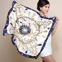 Wholesale Towel Simulation - 90cm*90cm H key compass simulation trace towel sunscreen shawl silk scarf