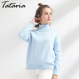 Wholesale Loose Neck Turtleneck - Women's Winter Sweaters Thick Turtleneck Knitting Clothes Pullover Pull Femme Manche Longue Loose Warm Sweater Ladies Garemay