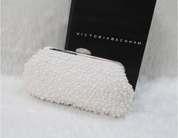 Wholesale Wedding Accessories Rhinestone Clutch Bag - Full Bling Bling Pearl Bridal Hand Bags White Black Evening Party Accessories 20 cm Fashion Wedding Bag For Women