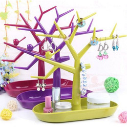 Wholesale Plastic Earring Holders - Jewelry Box Sale 2016 New Multifunctional Tree Branch Shape Colorful Jewelry Display for Earring Bracelet Necklace Ring Stand Holder Rack