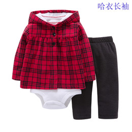 Wholesale Toddler Pant Cheap - cute baby girl 3pcs long sleeves romper suit with hoodies outwear long pants Cotton clothing set for toddler girl clothes cheap wholesale