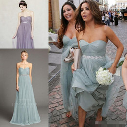 Wholesale Eva Longoria Ivory Dress - Eva Longoria Dusty Blue Strapless beach Boho cheap Bridesmaid Dress with Beaded sash maid of honor wedding party gown Jenny Yoo Annabelle