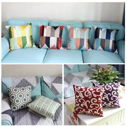 Wholesale Office Sofa Designs - 45cm Geometrical Design Cotton Linen Fabric Throw Pillow 18 Inch Fashion Gift New Home Decor Sofa Car Office Nap Back Cushion