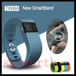 2019 podómetro medidor de pulso Impermeable Bluetooth TW64 Pulsera inteligente Akin Flex Anti Perdido Sleep Tracker Fotografía remota Reloj de pulsera inteligente para IOS Android iphone
