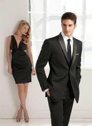 Wholesale Best Cheap Khaki Pants - 2018 New Custom Made Black Handsome Formal Mens Suits For Wedding Prom Party Best Mens Suit Two Pieces Groom Tuxedos (Jacket+Pants) Cheap