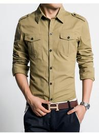 Robe à double boutonnage kaki en Ligne-style hommes robe chemise coupe slim fit 100% coton homme chemises haute qualité chemise à manches longues 3XL Printemps 2016 nouveau Khaki Vert