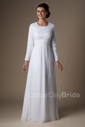 Wholesale Chiffon Dinner Dresses - Simple White Chiffon Temple Long Sleeves Wedding Dresses Sleeves A-line Floor Length Informal Reception Bridal Gowns Rehearsal Dinner Dress
