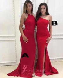 Wholesale Trumpet Style Maxi Dress - 2018 New Arrival Maxi Style Classic Romantic Bridesmaid Dresses A Line One Shoulder Sweep Train Satin Side Split Ladies formal tuxedo