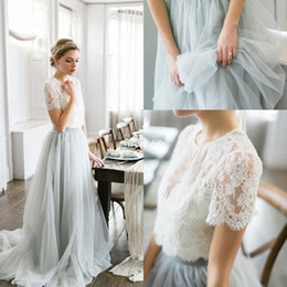 Wholesale Lace Line Wedding Dress Sheer Top - Fashion Bohemia Summer Beach Wedding Dresses Ice Blue Tulle Lace Top Crew Neckline Short Sleeve 2016 Sexy Outdoor Wedding Bridal Gowns Cheap
