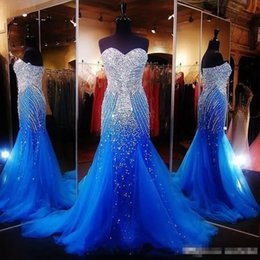 Wholesale Shiny Beaded Sexy Ruched Short - Sexy Royal Blue Mermaid Corset Prom Dresses 2017 Elegant Runway Shiny Tulle Long unexpensive Formal Gowns For Pageant Women