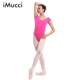 Wholesale green spandex unitard - Wholesale-Brand iMucci Adult Professional Ballet Leotards Backless Hot Pink Short Sleeve Unitard Women Gymnastic Costume Training Suit