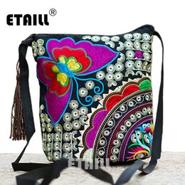 Wholesale Hmong Bags - Wholesale- Ethnic Hmong Boho Indian Embroidered Small Shoulder Bag Handmade Fabric Embroidery Logo Luxury Brand Crossbody Bags for Women
