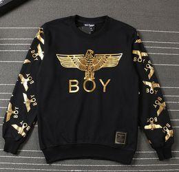 Wholesale London Hoodie - Hot Hight Quality Cotton Sweatshirt Men BOY LONDON Brand Clothing Hip-hop Loose Hoodie gold eagle black white Pullover hip hop sport tops