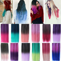 Wholesale Colorful Hair Ombre - Fashion Colorful Hair Straight Long Clip in hair Extensions Highlight Colored Hair Ombre Clip in Synthetic Hair Extensions More Colors