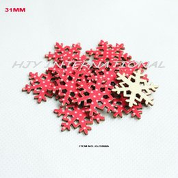 Wholesale Wooden Ornaments Bulk - (120pcs set) 31mm Cutouts red polka textile snowflakes wooden back vintage Christmas ornaments bulk supplies -GJ1068A