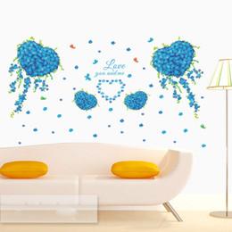 Blaue blumenmalereien online-Blue Clover Butterfly Liebe Herzform Blumen Wandaufkleber Wohnzimmer Schlafzimmer Wand Wandbild Poster Liebe dich und ich Wand Zitat Decal Grafik