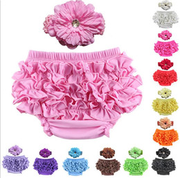 peacock hair band accessories Promo Codes - New Infant Baby Cotton Ruffles Shorts PP Pants With Flower Headband Hair Band Hair Accessory Girls Kids Children Outfits Baby Bloomers Set