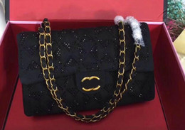 Wholesale Crystal Interior - 2018 luxurious gold chain girdle handbags womens new brand crystal rhomboids face shoulder bags messenger bag