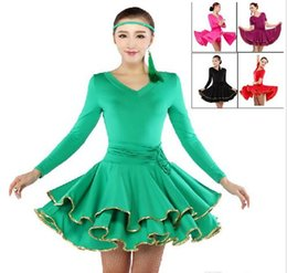 Wholesale Latin Ballroom Dresses For Sale - 2016 Latin Dance Dress Women For Sale Green Rose Purple Black Red Lady Dress For Dancing Ballroom Rumba Samba Cha Cha Tango Skirt