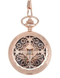 Wholesale Victorian Pocket Watch Pendant - Gift For Women Men - Men's Steampunk Pocket Watches Chain-Victorian Rose Gold Hand-Winding Mechanical Skeleton Watches Pendant