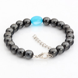 Wholesale Magnetic Round Clasp - Hot ! 10 pcs fashions Round Black Magnetic Hematite Sky Blue ellipse Imitation Opal Beaded Bracelet