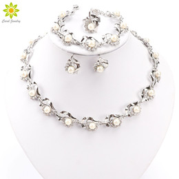 Wholesale Bridal Pearl Necklace - Bridal Jewelry Sets Simulated Pearl African Pendant Necklace Earrings Bracelet Rings Silver Plated Crystal Wedding Accessories