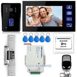 "Wholesale Door Electric Lock Camera - 7"" Video Door Phone Doorbell Intercom IR Camera Monitor Electric Strike Lock RFID Key"