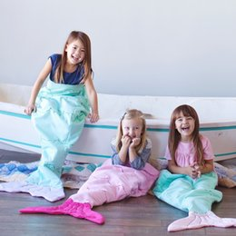 Wholesale Duck Down Sleeping Bags - Double Layer Kids Mermaid Sleeping Bags Mermaid Tail Blankets Shark Blankets Cocoon Mattress Sofa Bedroom Blankets Camping Travel Blankets