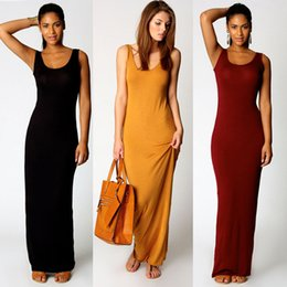 Wholesale Long Cotton Sundresses Women - Women Summer Long Casual Dress U-Neck Sleeveless Tunic Dress Solid Color Maxi Beach Sundress Jersey Dresses DZF0305