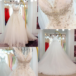 Wholesale Bridal Dress Cover Ups - Luxury Crystals Beaded Wedding Dresses 2017 V Neck A Line Bridal Gowns Lace Up Back Sweep Train Wedding Dresses Custom Made