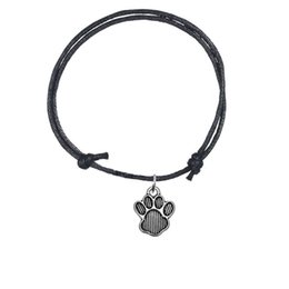 Wholesale Dog Cord - Handmade Adjustable Charm Bracelet Antique Silver Plated Lovely Dog footprint Charm Wax Cord Bracelet For Personalized Jewelry