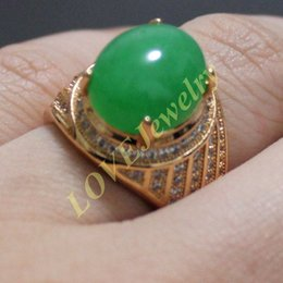 Wholesale Green Jade Gold Rings - Size 10 11 12 Yellow Gold Filled Oval Jade Stone CZ Paved Ring for Men