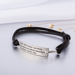 Wholesale Fashion Quote - New Fashion Life isn't About Surviving the Storm, it is About Learing to Dance Quote Charm Leather Bracelet Jewelry