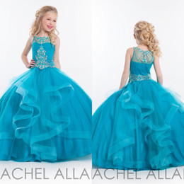 Wholesale Turquoise Balls - 2016 Girls Floor Length Pageant Dresses Ball Gown Turquoise Ruffles Cascading Kids Flower Girls Dresses for Weddings