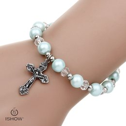 Wholesale White Pearl Cross Bracelet - Fashion Women cross Charm Glass Pearl Beads bracelets Fashion Stretchy light blue beaded Bangle Bracelets gift for friends