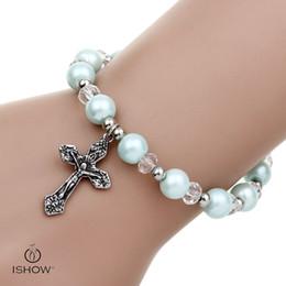 Wholesale Stretchy Bead Bracelets - Fashion Women cross Charm Glass Pearl Beads bracelets Fashion Stretchy light blue beaded Bangle Bracelets gift for friends
