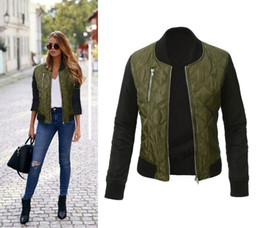 Wholesale Cool Winter Jackets Women - Bomber Jacket Women 2016 Autumn Winter Warm Basic Coats Jaqueta Feminina Casual Patchwork Cool Long Sleeve Padded Short Outwear