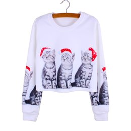 Wholesale Ladies Christmas Shorts - 2016 Christmas Cats print casual girls crop sweatshirts lady Autumn clothes long sleeve fashion women pullovers mix order factotry wholesale
